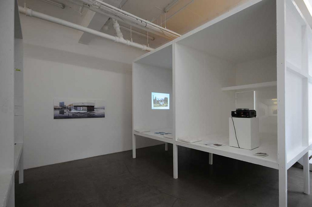 Installation view, detail from Common Lands slideshow (2011) in left container, at 0047, Oslo.