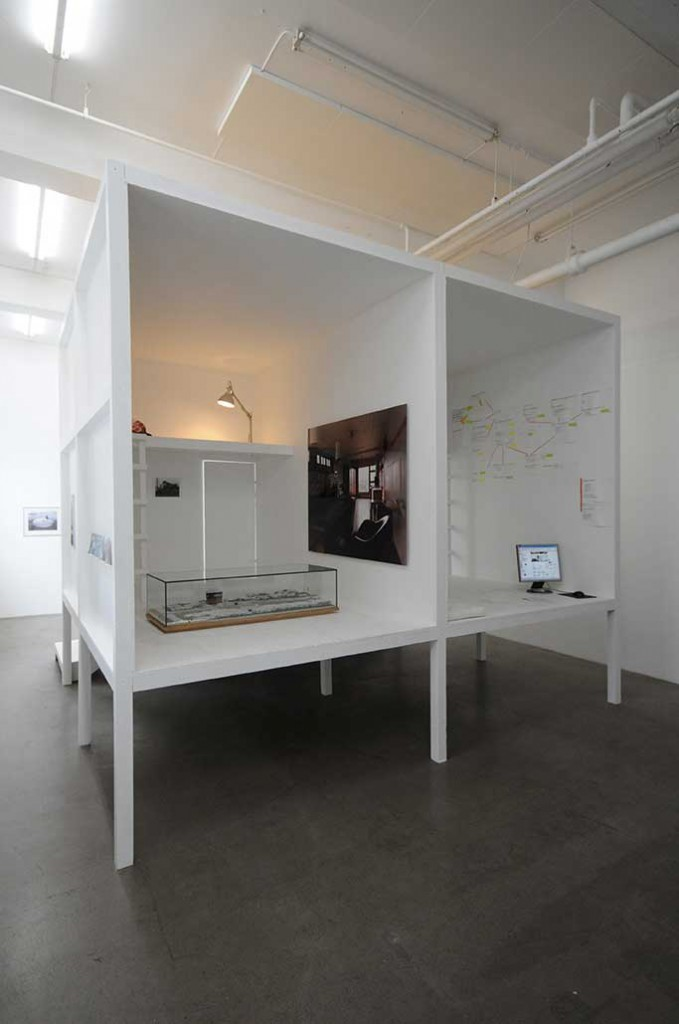 Installation view, detail from Ingrid Lønningdal, Bjørvikastrukturen i Atelieret (2010), at 0047, Oslo.