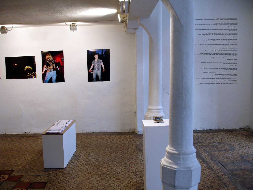 Installation view, Hilde Jørgensen: Hunter's Game (on wall), Jacqueline Forzelius: Moan special edition (in front)