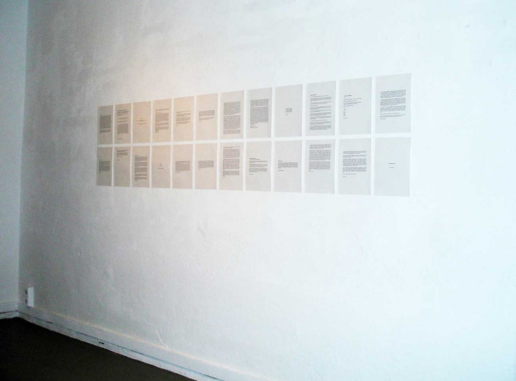 Installation view, space no 2. Each text corresponding to a bouquet of flowers in space no 1. Photo: Rakett