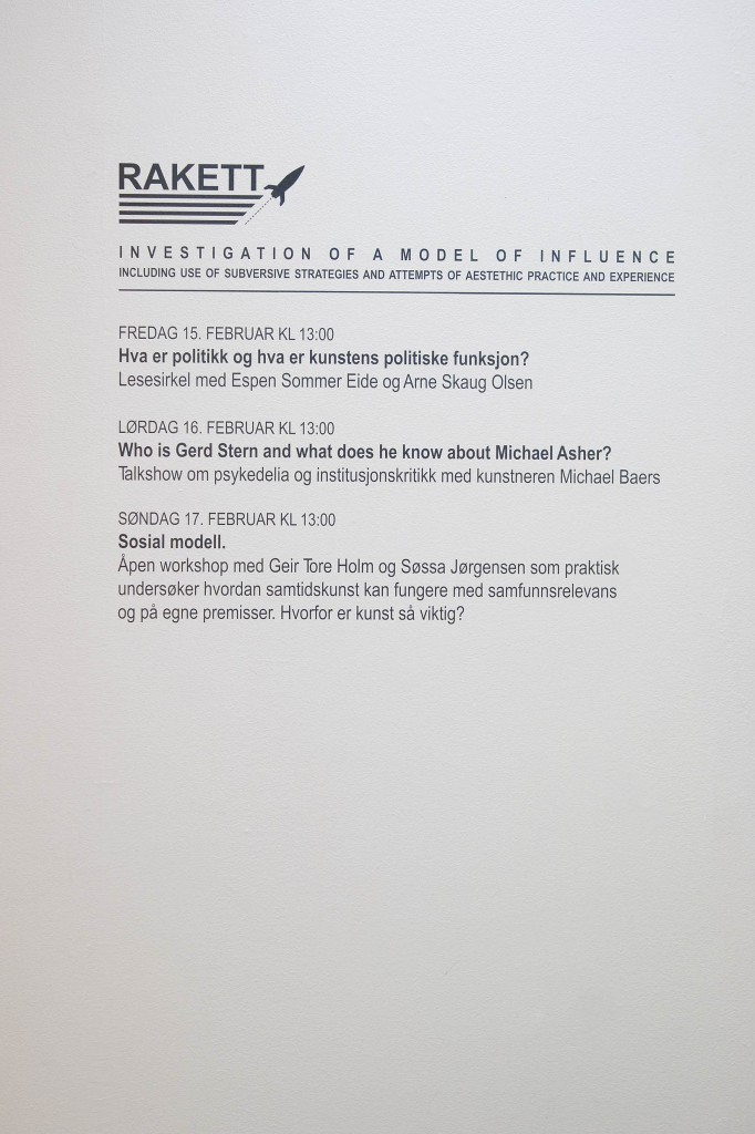 Wall text with the program part of Investigation of a Model of Influence (2008). Photo: Anders Valde