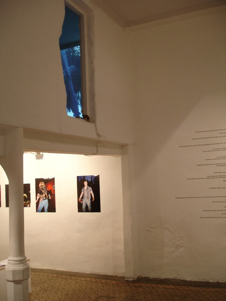 Installation view, Hilde Jørgensen Hunter's Game (2006) (on wall), Psychedelic Warriors: Jane Hellen's Nightmare (second floor)