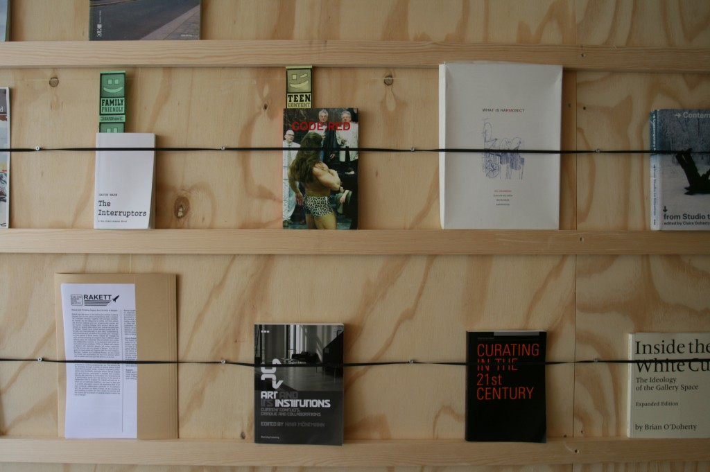 Detail with books, Curating Degree Zero Archive presentation in Bergen. Photo: Rakett