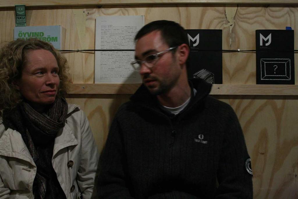 Sissel Lillebostad and Matt Packer in the Curating Degree Zero Archive, Bergen. Photo: Rakett