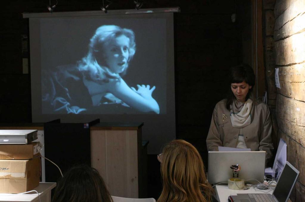 Marte Johnslien giving a presentation, part of Curating Degree Zero Archive, Bergen. Photo: Rakett