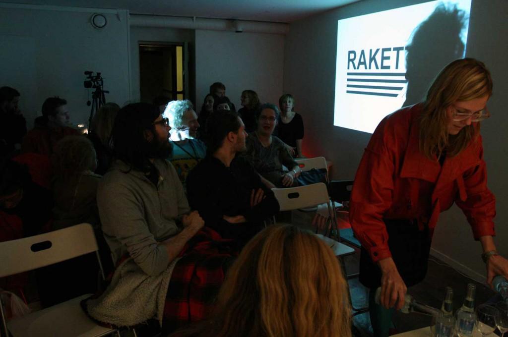 Panel discussion on the upcoming Bergen Biennial. Panel: Matt Packer, Ann Demeester, Sissel Lillebostad, moderator Helga Marie Nordby. Photo: Rakett (2007)