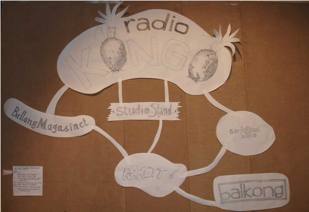 Detail from the wall installation at Radio Kongo - Studio Stand (2007).  Photo: Rakett